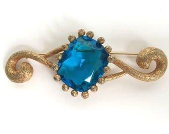 Mid Century Brooch Blue By Marvella
