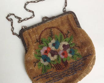 Antique Victorian Floral Hand Beaded Purse