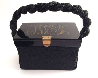 Beaded Lucite Purse with Monogram