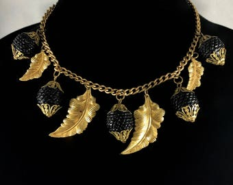 Brass Necklace w celluloid acorns Haskell