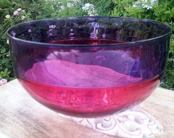 Alex Brand Studio Art Glass Bowl Cranberry and Magenta Hand Blown Glass Artist Signed 1992