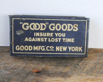 """Vintage """"Good"""" Goods Faucet Cap and Nut Washer Tin Good Manufacturing Co"""