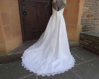 vintage women's wedding dress Mori Lee size 10 white strapless pageant gown bridal formal
