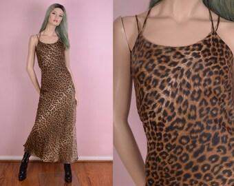 90s Leopard Print Maxi Dress/ Medium/ 1990s