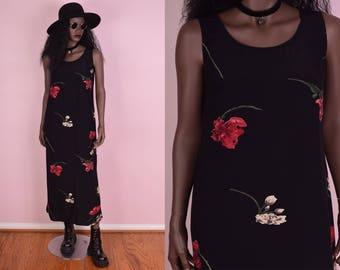 90s Floral Print Dress/ Large/ 1990s