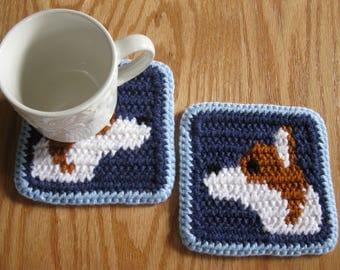 Welsh Corgi Dog Coasters. Denim blue crochet cup coasters with Pembroke Welsh corgi dogs. Corgi art decor. Corgi dog gift. Dog mug rug