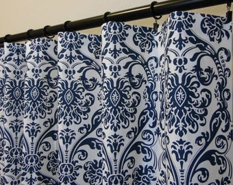SALE Navy Blue White Abigail Damask Curtains, Rod Pocket Top in 63 72 84 90 96 108 120 Long by 24 or 50 Wide