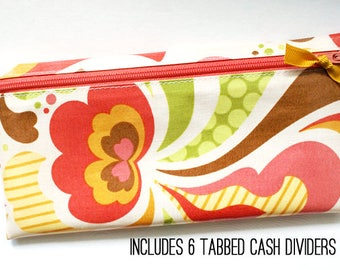 Cash system budgeting wallet with 6 tabbed dividers | cream, coral, green, mustard, yellow, brown laminated cotton