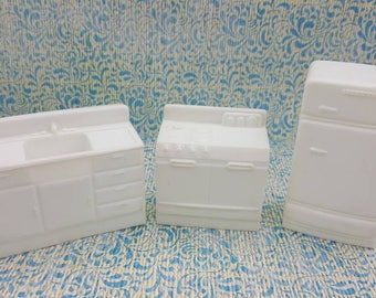Eagle Toy Canada Kitchen  Pieces  Fridge Stove Sink Rare White