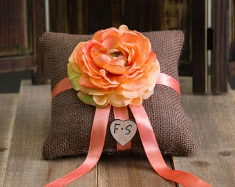 Brown Ring Bearer Burlap Pillow decorated with a flower and ribbon of your choice.
