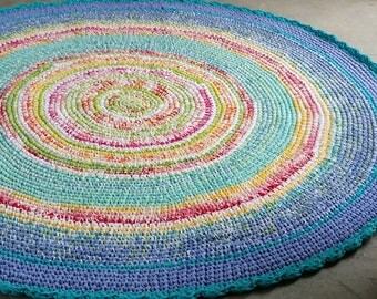 Nursery Rug,Round Rug, Area Rug, Floor Rug, Bedroom Rug, Cotton Rug, Round Rug, Studio Rug, Multi-colored Rug, Rugs, Home Decor, Crochet Rug