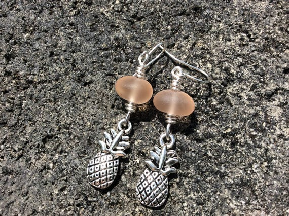 Pink Recycled Seaglass, Silver Plated Pineapple Earrings