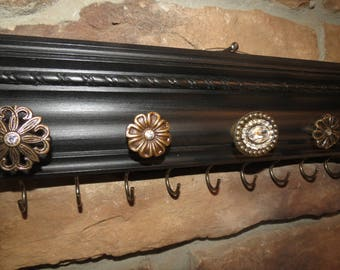 HOLD - Jewelry Organizer/Display Necklace Organizer Jewelry Storage Ornate Wood painted and antiqued black with Brass Crystal Knobs