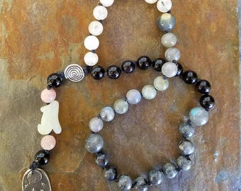 Wolf Spirit Pagan Prayer Beads, Meditation Beads, Witches Ladder, Witches Rosary, Pagan Rosary, Wolf Totem Prayer Mala