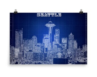 Seattle Skyline, Blue Print, Washington, Blueprint Blue, Space Needle, Seattle Art, Museum Quality Poster Print