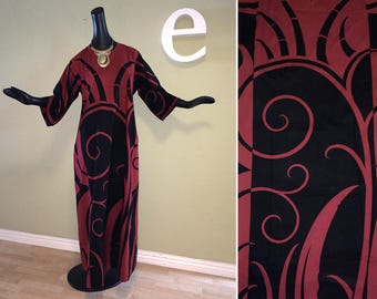 MOD Vintage 70s Art Deco Caftan Kaftan Maxi Dress 1970s Hippie Boho Festival Hawaiian Tiki Oasis Cover Up Muumuu Burgundy Wine + Black Large