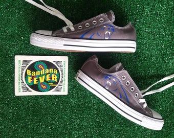 Custom Panthers Converse Shoes Low Charcoal, FREE SHIPPING,  #keeppounding,  #PantherNation, #oneCarolina, #football, by Bandana Fever