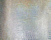 "NEW SUPPLY Leather 12""x20"" or 10""x24"" or ?? Iridescent Glitter SILVER Mosaic Croco Cowhide 2-2.25 oz / 0.8-0.9 mm PeggySueAlso™ E8130-07"