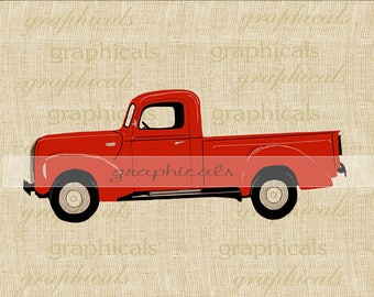 Red truck printable graphic instant clip art digital download for iron on image transfer burlap tote crafts pillow Decoupage Card 2440