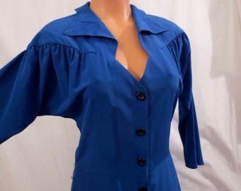 SING THE BLUES vintage eighties dress - shoulder pads - flared skirt sz S/M