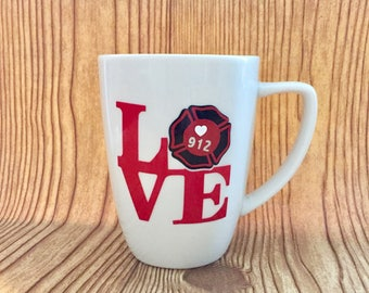 """12oz  Fire Fighter Shield """"LOVE"""" White Stoneware Coffee Mug Personalized with Shield Number"""