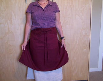 "16"", 26"" or 30"" long Cafe Apron, Linen 3 pocket Half Apron, Unisex working cover up, belt loops tie around apron"
