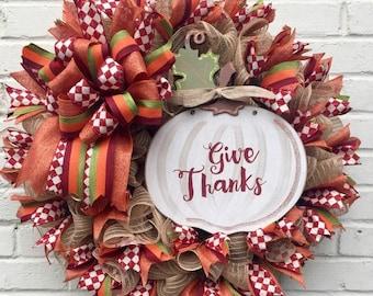 Give Thanks Fall Wrath, Fall Wreath, Fall Jute Mesh Wreath, Pumpkin Wreath