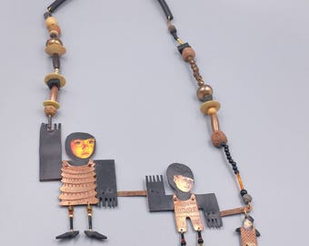 1987 Kimberly Willcox Necklace, Huge Statement Necklace, People Necklace, Artisan Sculptural Mixed Media