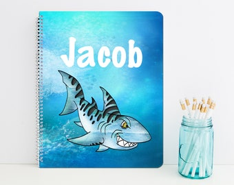 Shark Personalized Spiral Notebook - Monogrammed School Supplies - Back to School Custom Journal Gift