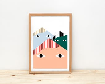 Colorful mountains with eyes - art print, illustration by depeapa, A4 wall art, poster, wall decor, kids room decor