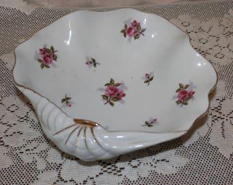Vintage Shell Shape Serving Bowl with Roses - Japan