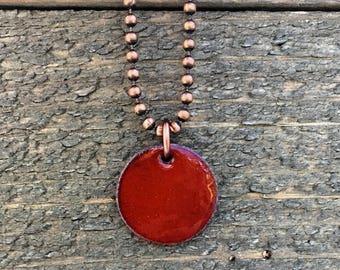 Enameled Penny Necklace - Upcycled Penny - Lucky Penny Charm Necklace - Mandarin Orange