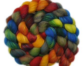 Hand painted combed top roving - Silk / Shetland wool 30/70% spinning fiber - 4.0 ounces - Party Tray 1