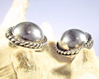 925 Solid Sterling Silver Half-Orb Clip Earrings, With Rope Detail, Made in Mexico, 11.2 Grams Total Weight