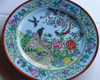 "Modernist Porcelain Import Hand Painted Bird of Paradise Signed Nora Fenton Macau Blue 10"" Display Plate"