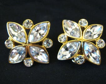 Vintage Signed MONET Clear Faceted Rhinestone Clip EARRINGS