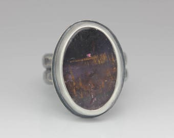Cacoxenite in Amethyst Ring, Cacoxenite & Sterling Ring, Unique Gemstone, Rustic Chic Ring, Size 7