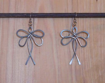 Primitive hammered stainless steel dragonfly earrings