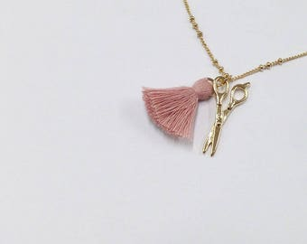 Scissor and Tassel pink and gold charm necklace brass 18inch chain necklace charm necklace needleworker