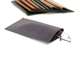 Purple Leather Slip-in Glasses Case (Large) - CLEARANCE -