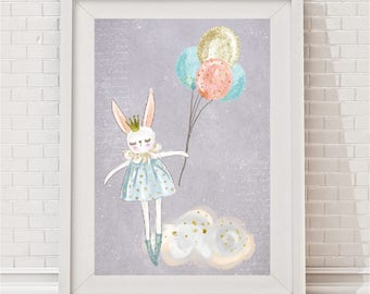 Floating Bunny Print