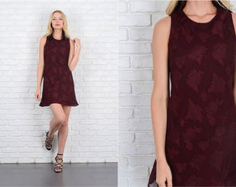 Vintage 90s Maroon Mini Dress Floral Print Sleeveless XS 10028