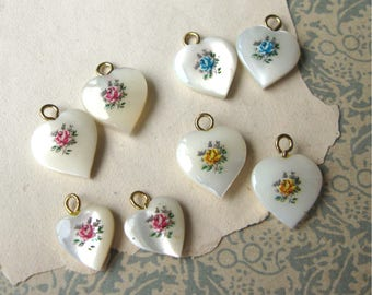 Vintage MOP Heart Charms with Dainty Rose Decals Pink Blue or Yellow (2)