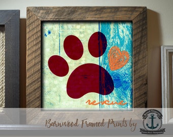 Rescue Paw Orange - Framed in Reclaimed Barnwood Beach House Style - Handmade and Ready to Hang
