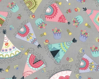 Tossed Teepees on Grey from Timeless Treasures
