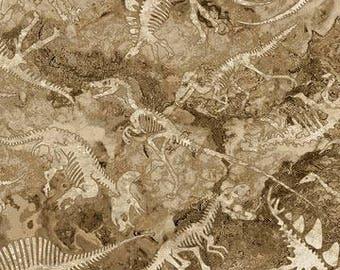 Dinosaur Fossils from Northcott Fabric's Stonehenge Prehistoric Collection