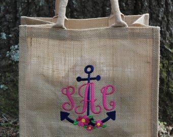 Anchor Monogram Embroidered Tote Bag, Personalized Burlap Bag, Personalized Bridesmaid Gift, Monogram Tote Bag