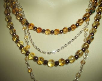 Layered 5 Strand Chain & Beaded Necklace With Glass Pearls And Glass Drawbench Beads
