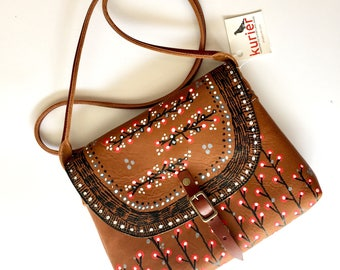 Handpainted with dots KARINA crossbody leather bag