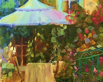 50% off SALE French Garden 4, Original Hand Painted Oil Painting. Size 6 x 6 canvas
